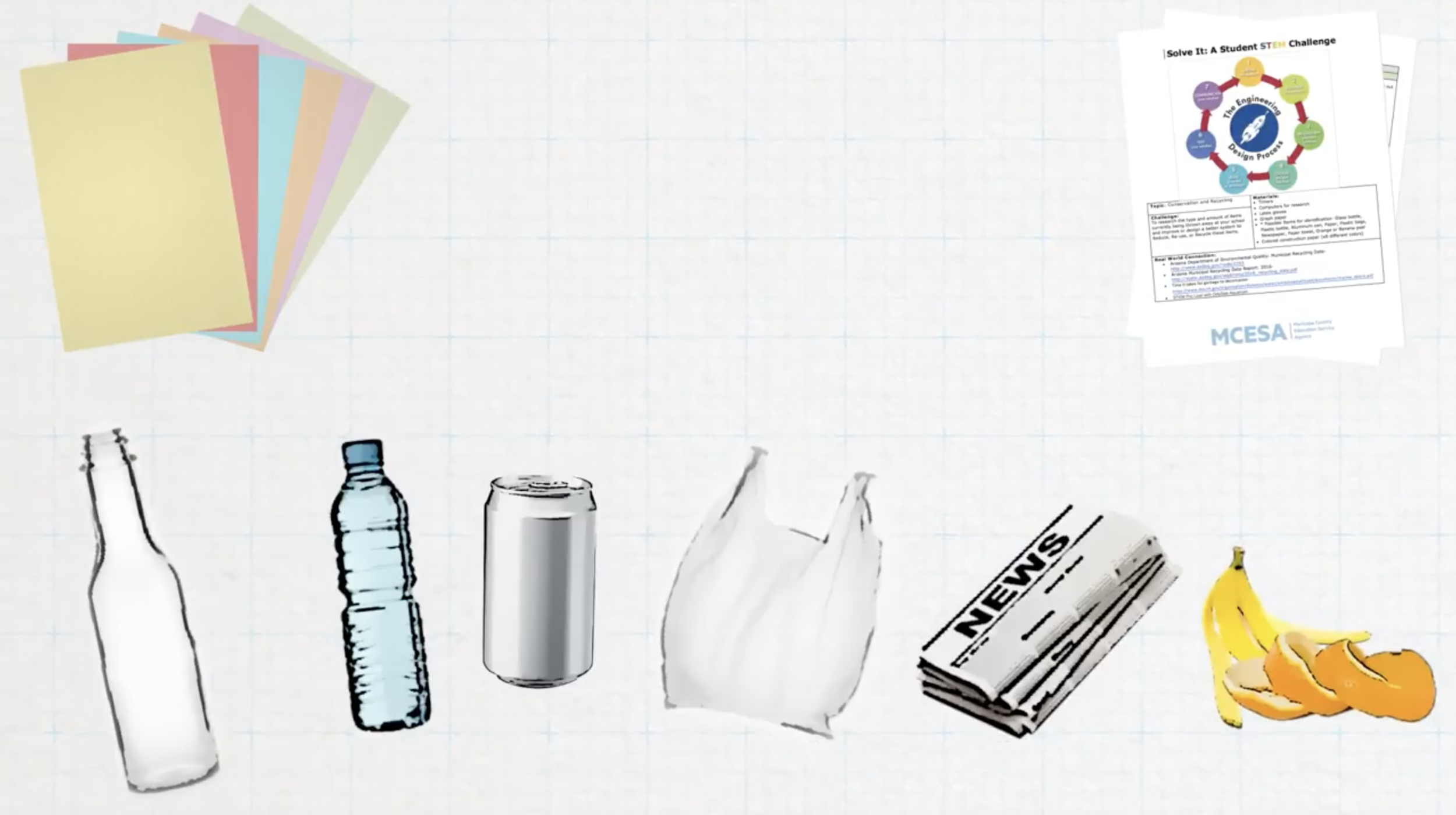 Solve It: Recycling - Your challenge: To research the type and amount of items currently being thrown away at your school and improve or design a better system to reduce, re-use, or recycle those items.