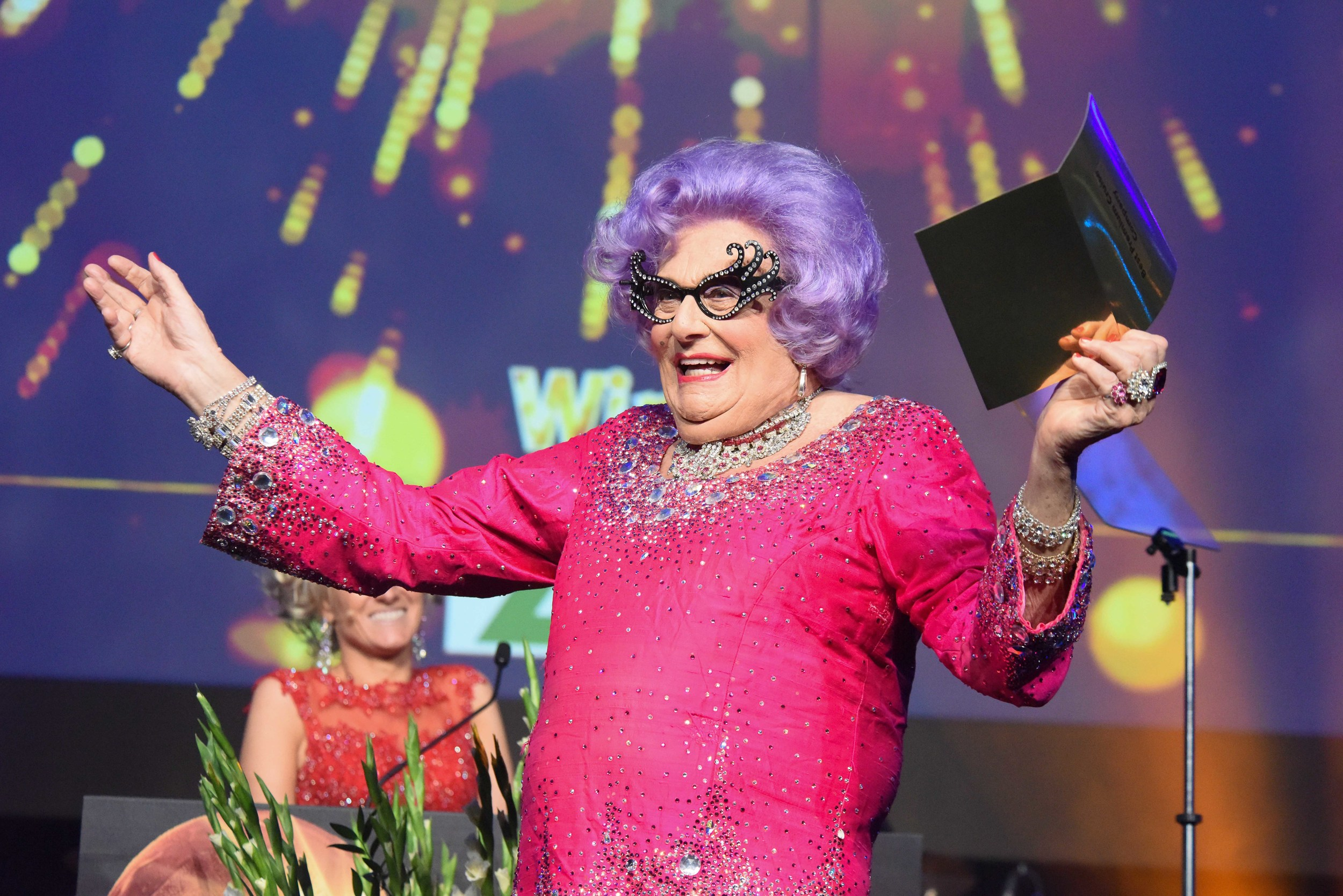 "Dame Edna Everage ""Hello Possums!"" Copyright  ©  Steve Dunlop Photography."