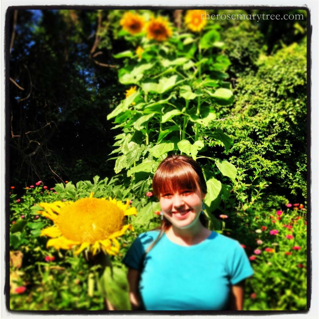 I am standing in this picture. These sunflowers are literally 10 ft tall.