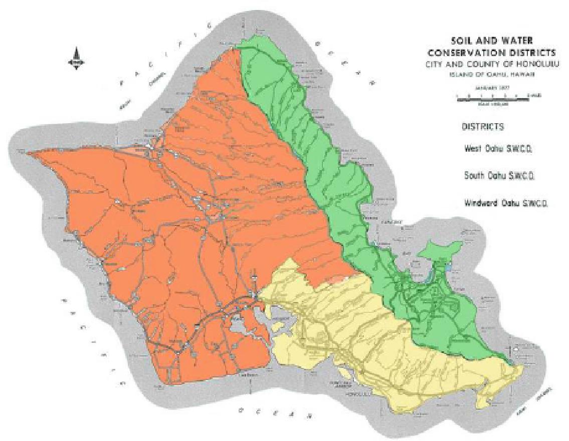 Orange: West Oahu, Yellow: South Oahu, Green: Windward Oahu