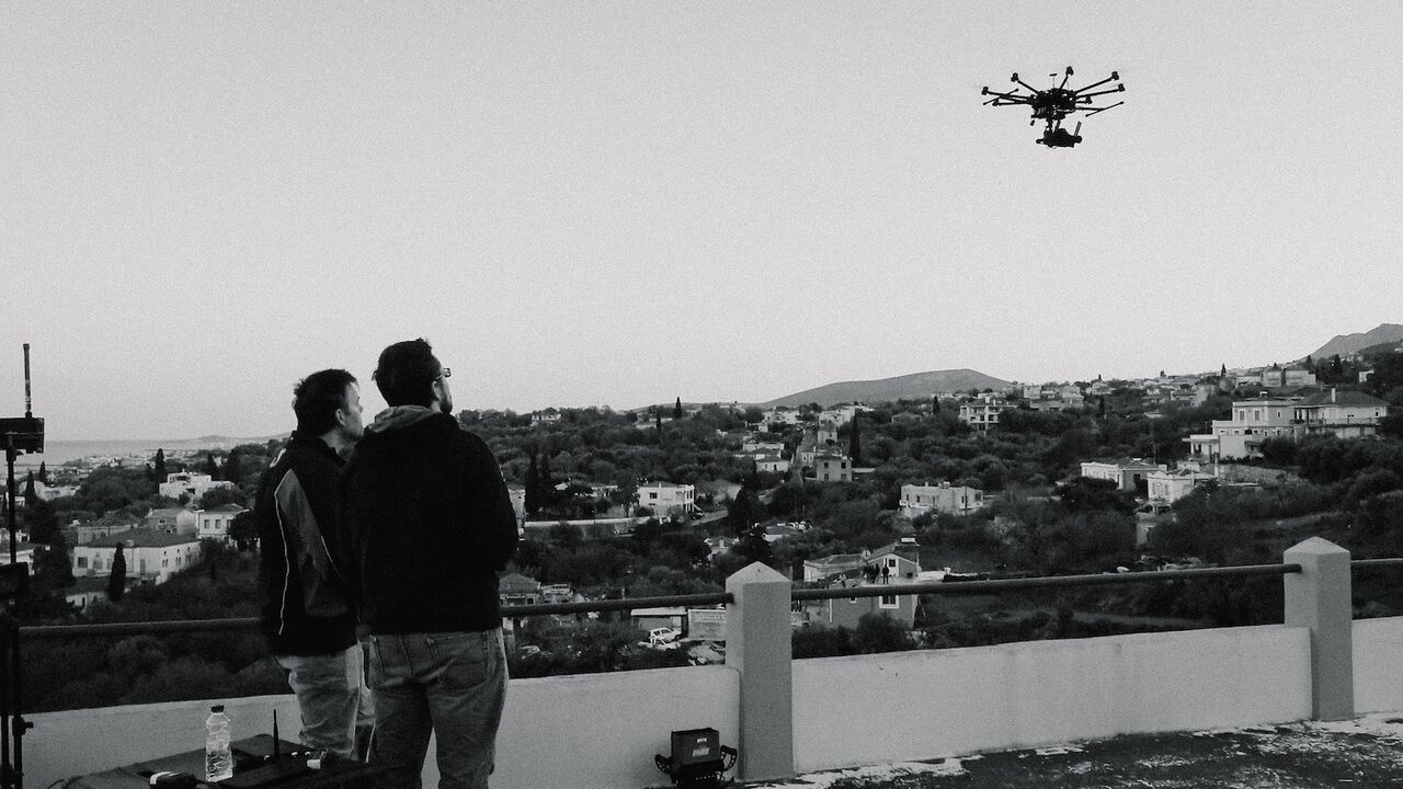 Flying test runs prior to the main Rocket Wars event with the Sony a7s on ourcustom modified UAV.