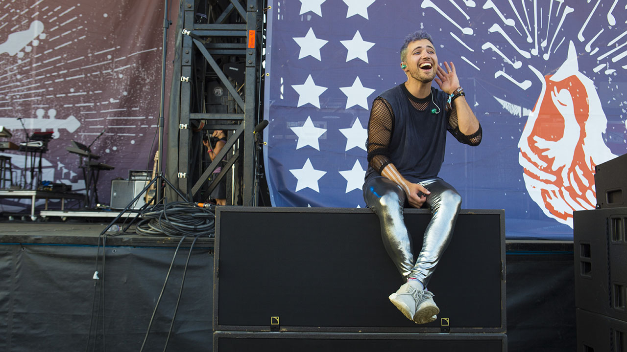 Nicholas Petricca, lead vocalist for Walk the Moon, encourages fans to sing louder at the 2017 Pilgrimage Festival in Franklin, Tennessee.