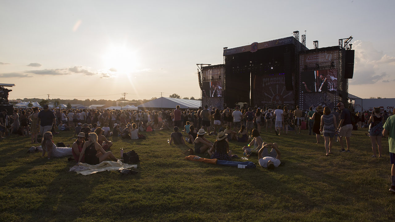 Festival goers watch the sun go down at the 2017 Pilgrimage Festival in Franklin, Tennessee.