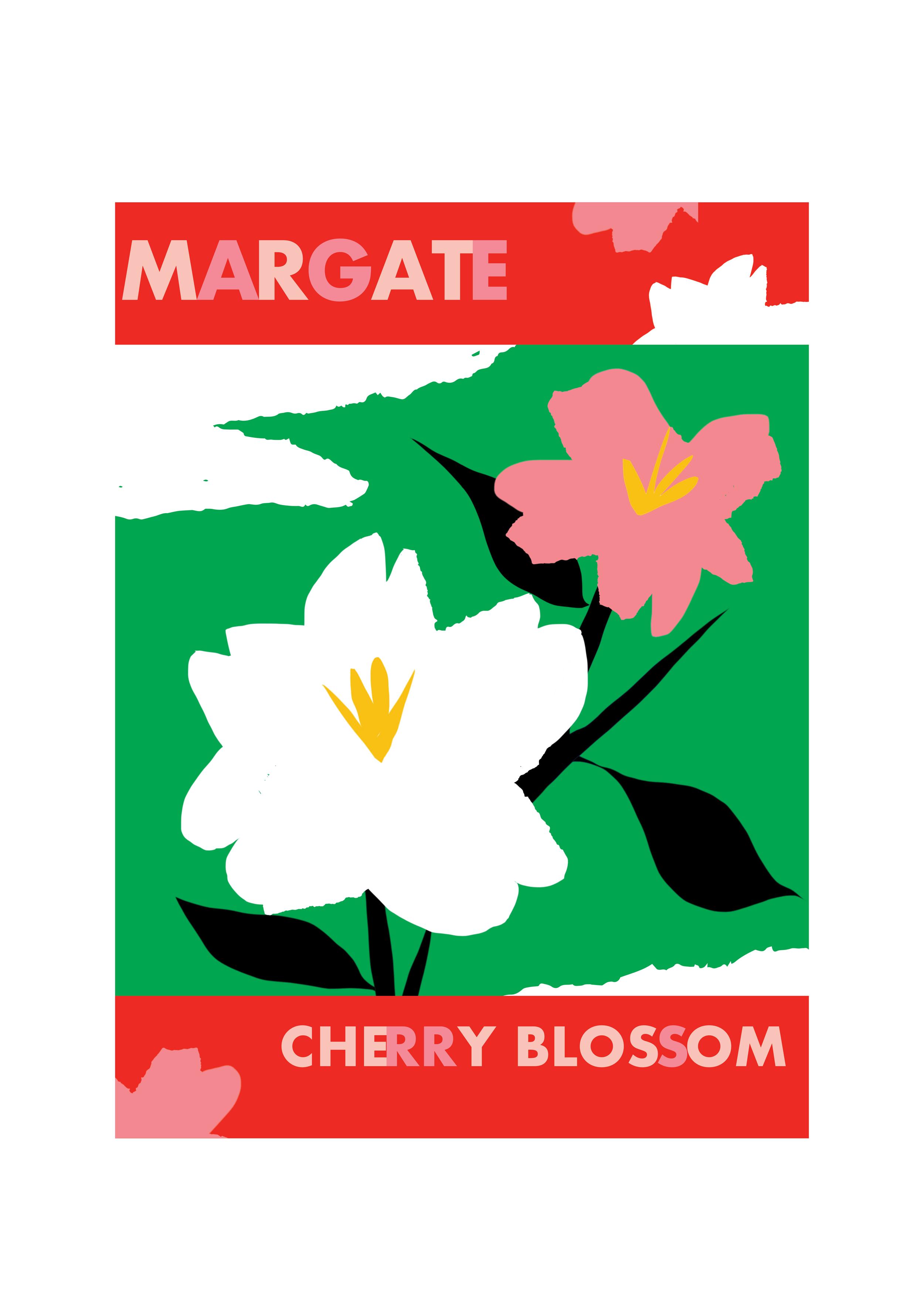 Grace Attlee, illustrator, cherry blossom, poster, margate, design, Grace, attlee