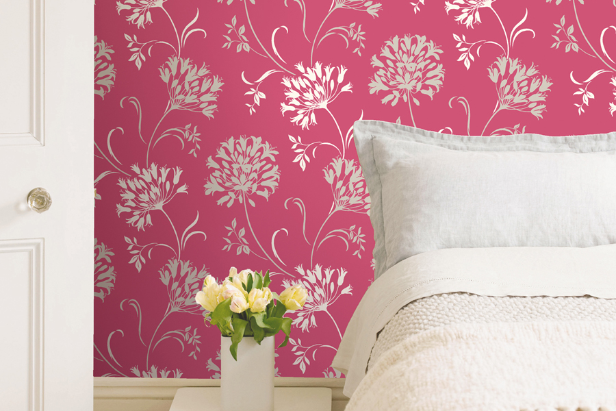 BREWSTER - ACCENTS- NERIDA PINK FLORAL SILHOUETTE