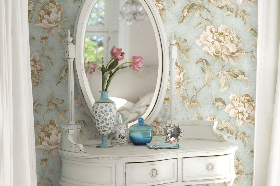 Brewster- Vintage Home-NEUTRAL CABBAGE ROSE TRAIL