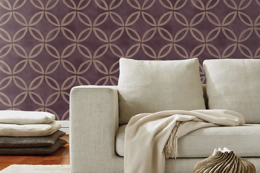 Brewster - Horizon- CLOVERLEAF PURPLE GEOMETRIC