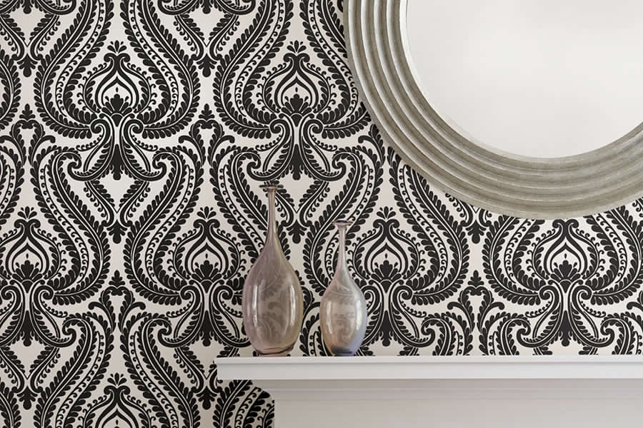 Brewster - Simple Space - IMPERIAL BLACK MODERN DAMASK
