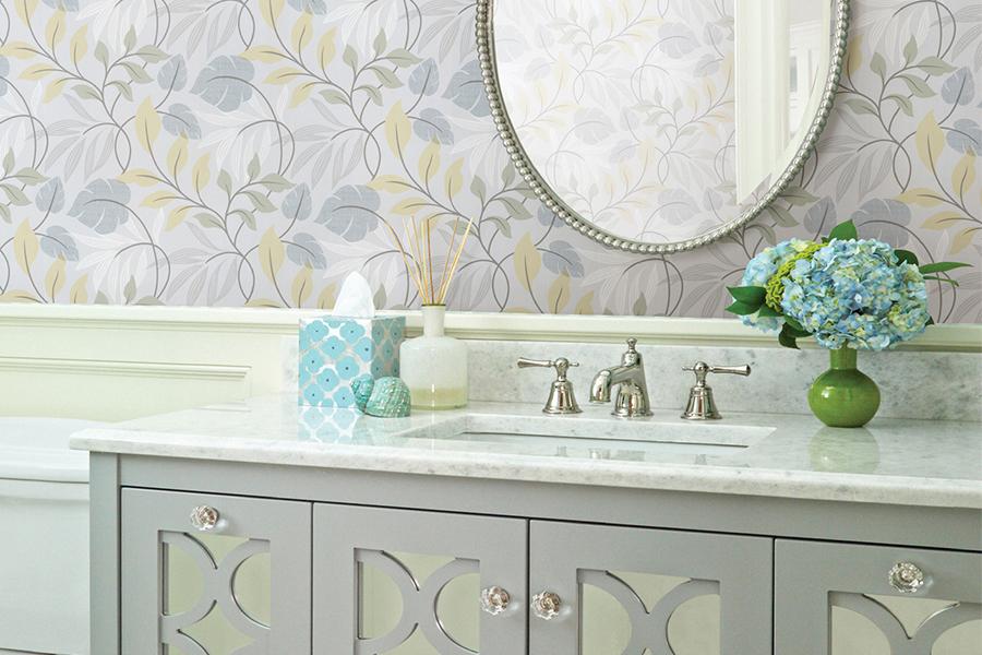 Brewster - Bath Bath Bath IV- CLEMENTINE BLUE MODERN LEAF TRAIL