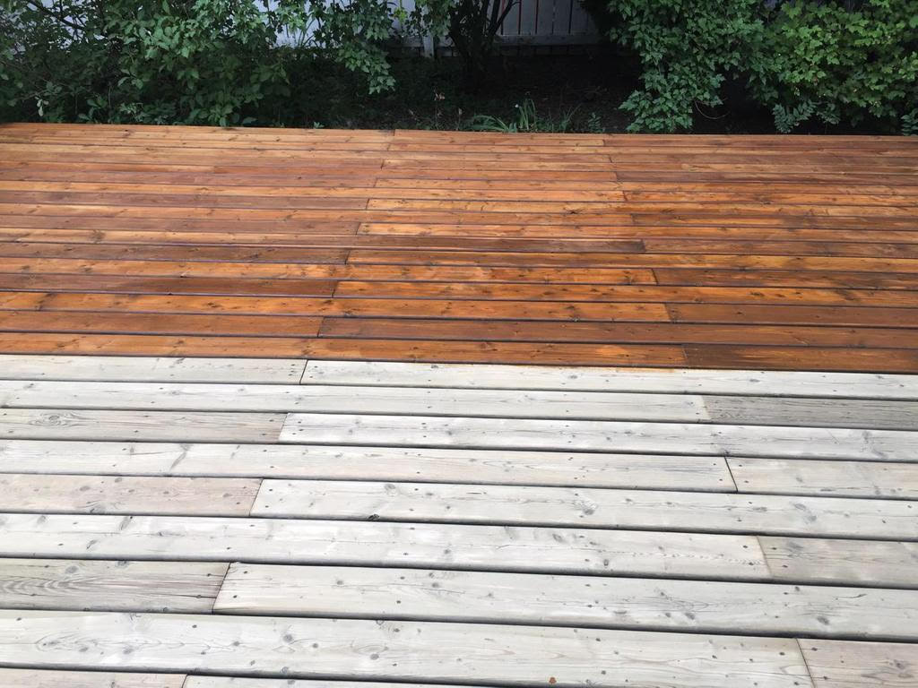 Deck prepped with onfloor sander. Two coats Sansin Dec monterey red.