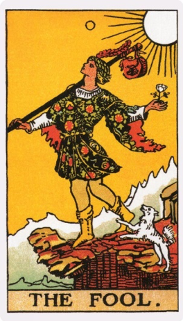 The Fool from the Rider-Waite Tarot deck. Originally published 1910, it is one of the most popular tarot decks in use for divination in the English-speaking world.