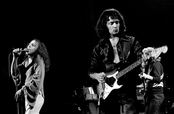 Ronnie James Dio and Ritchie Blackmore in Rainbow, performing at Chateau Neuf in Oslo, Norway, on September 27, 1977. Photo by Helge Øverås.