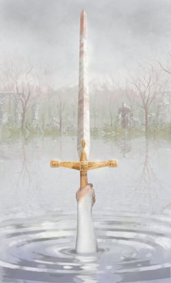 The Lady of the Lake is an enchantress in Arthurian legend. She plays a pivotal role in many stories, including giving Arthur his sword, Excalibur. Artist unknown.