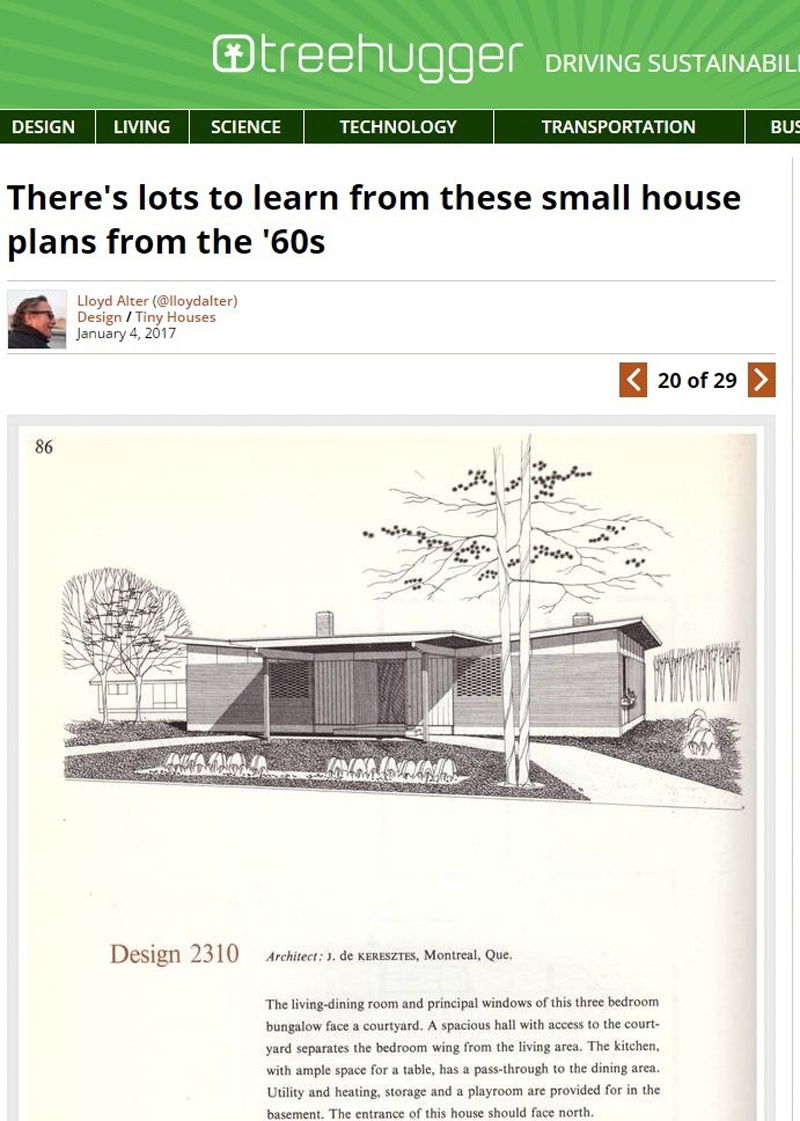 Screenshot from Treehugger of a house design from a c. 1965 copy of a CMHC publication
