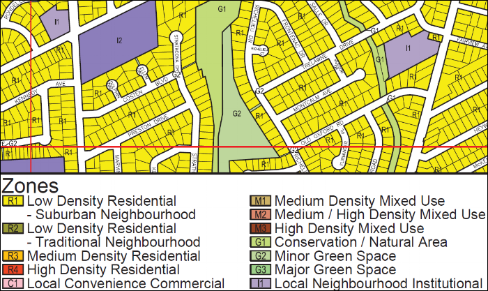 Example: City of St. Catharines does a great job identifying zoning with colour coded maps in their by-law document - free to download online for most cities