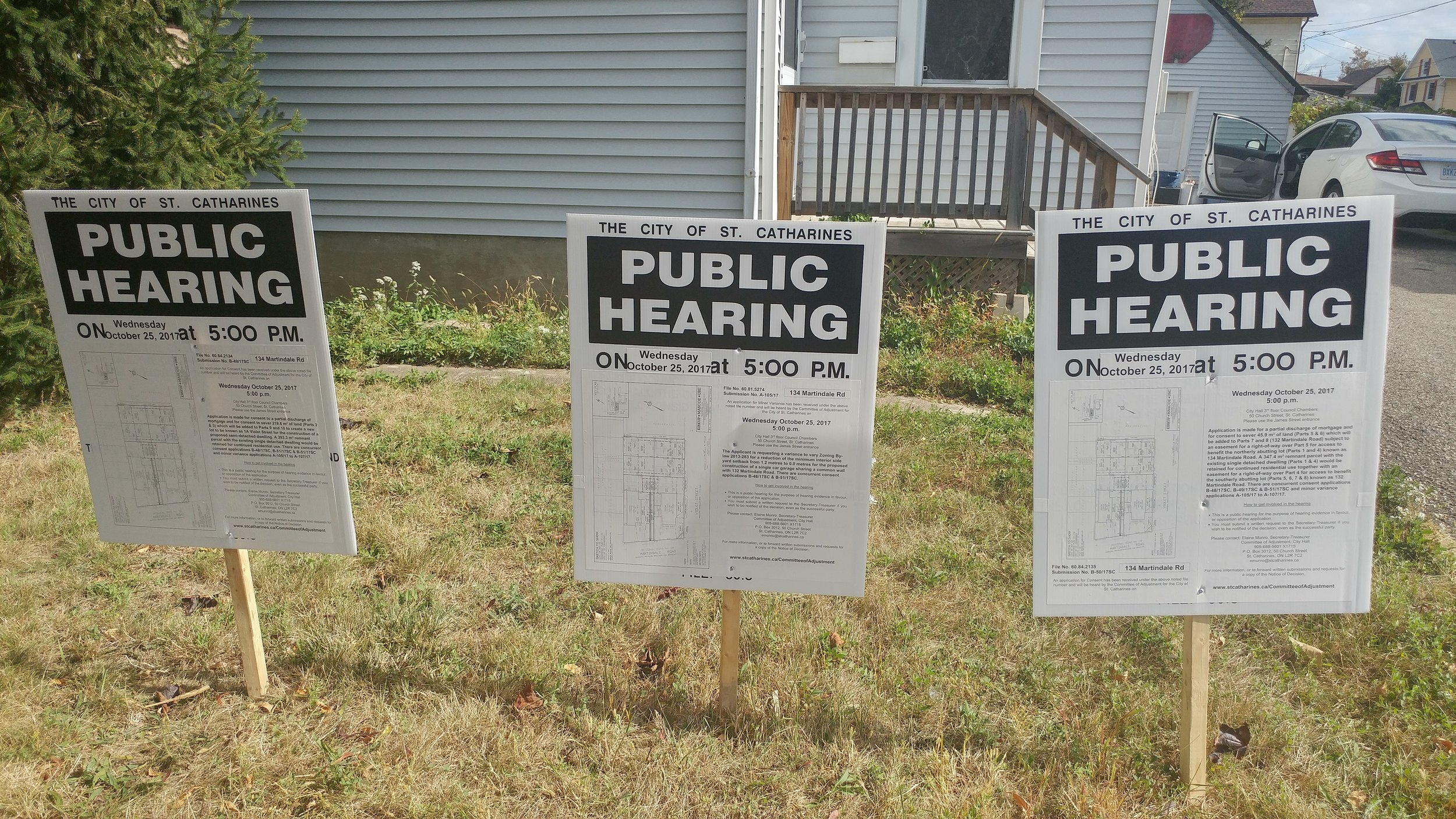 There was nothing subtle about these public hearing signs facing the main street. Fortunately there were no neighbours with torches and pitchforks