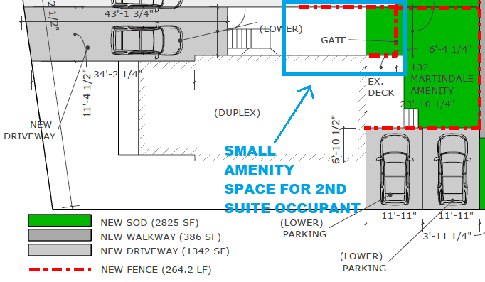 In one of my duplexes, we had a very small outdoor space for the 2nd suite tenant, but it did the job! Most of it was a concrete pad, with just small patch of grass. Only thing missing was a front gate, which was added in later on. This takes us to point 6 below, which is street privacy.