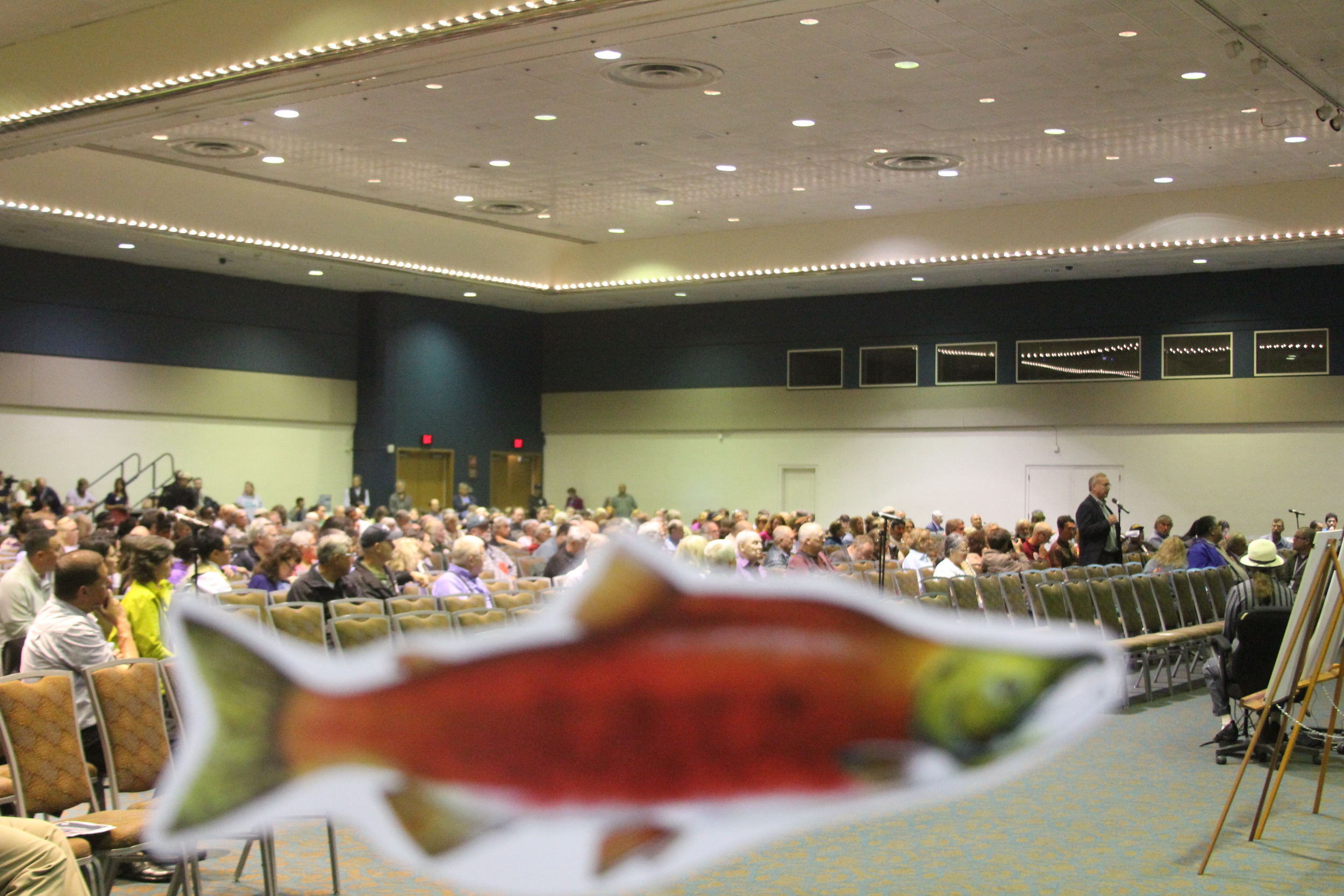 Save Bristol Bay supporters waved salmon signs during testimony to the EPA