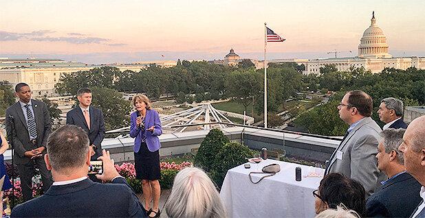 Alaska Senator Lisa Murkowski (R) addresses a crowd at a Bristol Bay Salmon Week celebration in Washington D.C. on Wednesday,