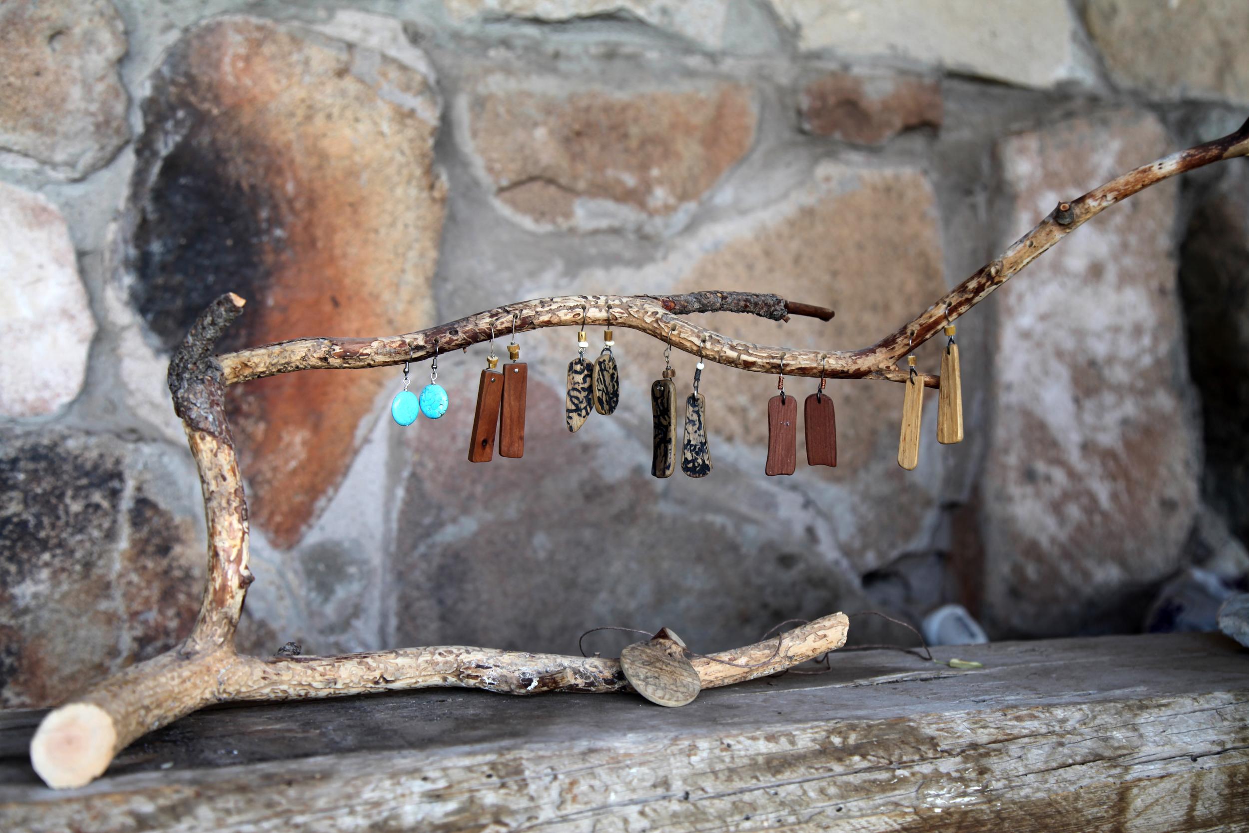 Wood Earrings & Pendant