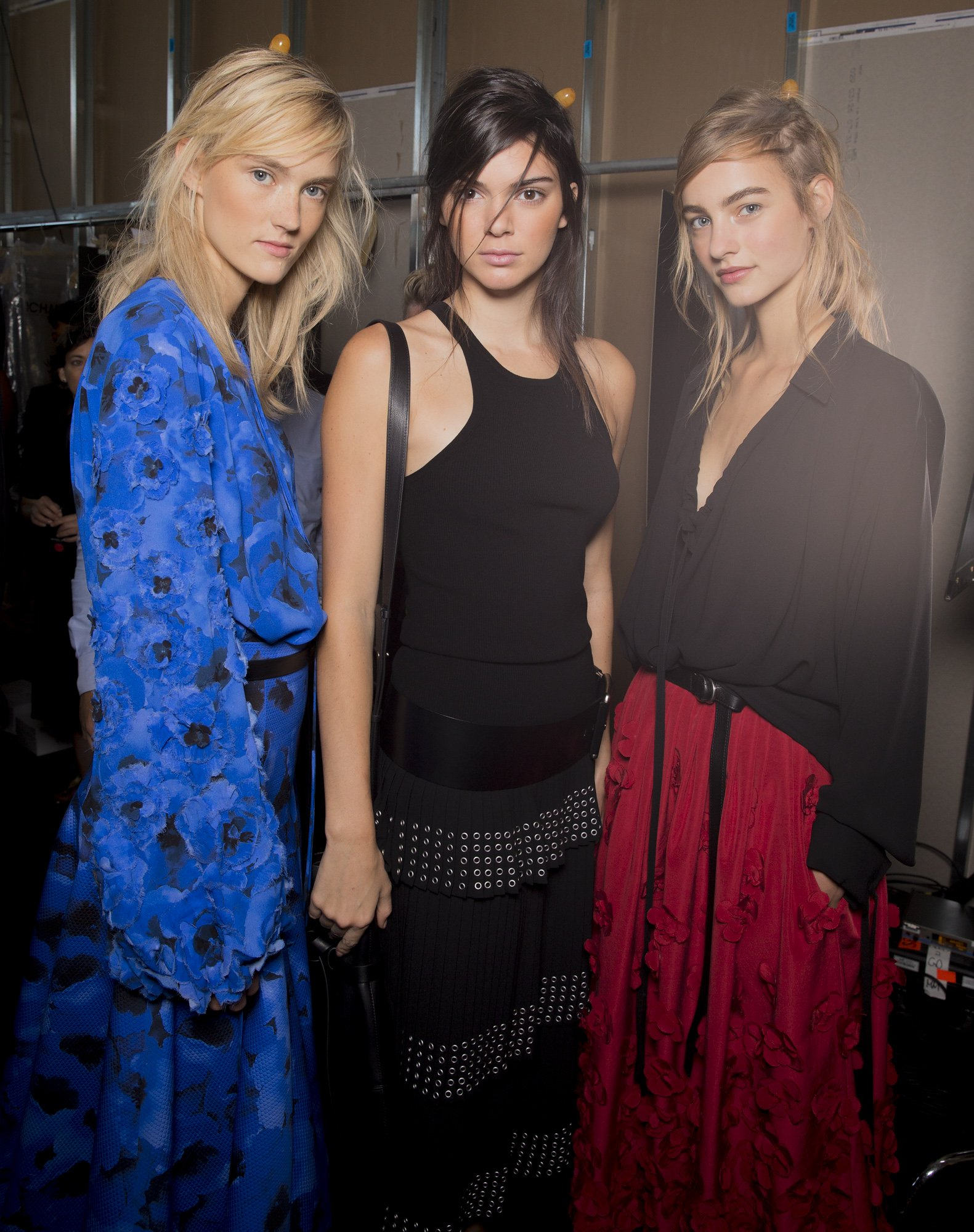 Above: Two different sides of fashion: models Maartje Verhoef and Harleth Kuusik with Instagram Celebrity and reality TV star Kendall Jenner.