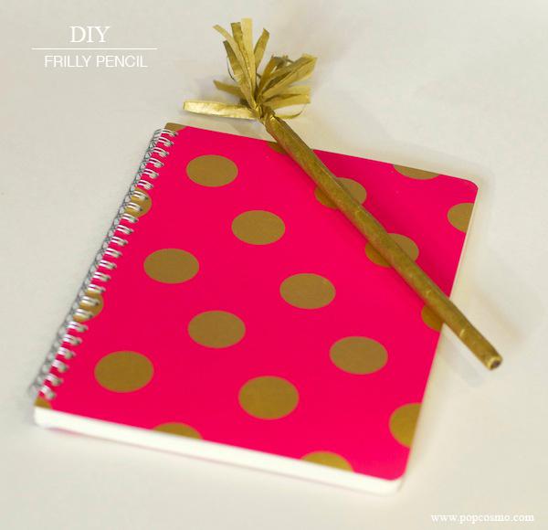 DIY gold pencil & notebook