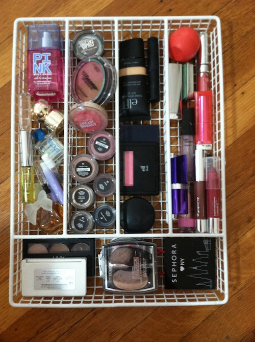 organize makeup drawer
