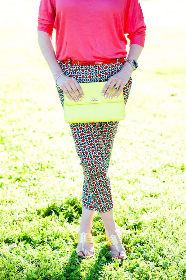 neon purse patterned pants
