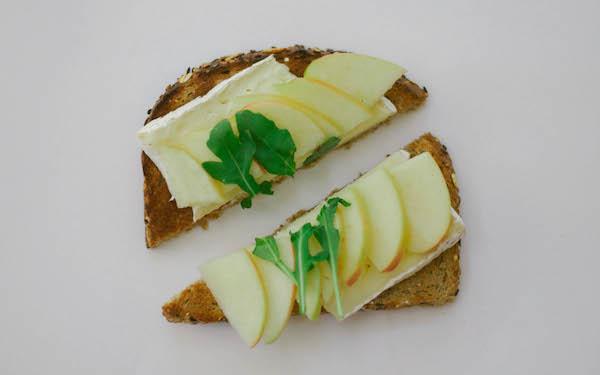 apple, brie, arugula toast