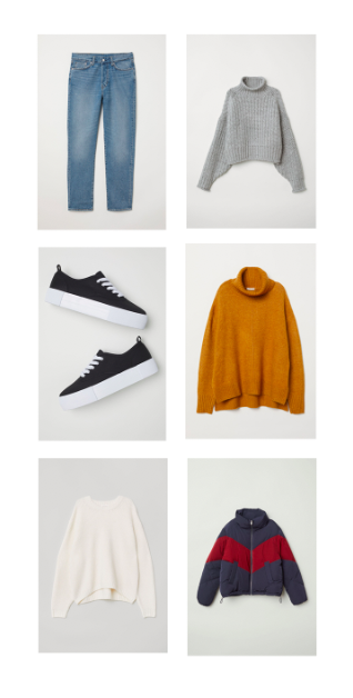 mom jeans  |  grey sweater  |  sneakers  |    orange sweater  |  white sweater  |  jacket