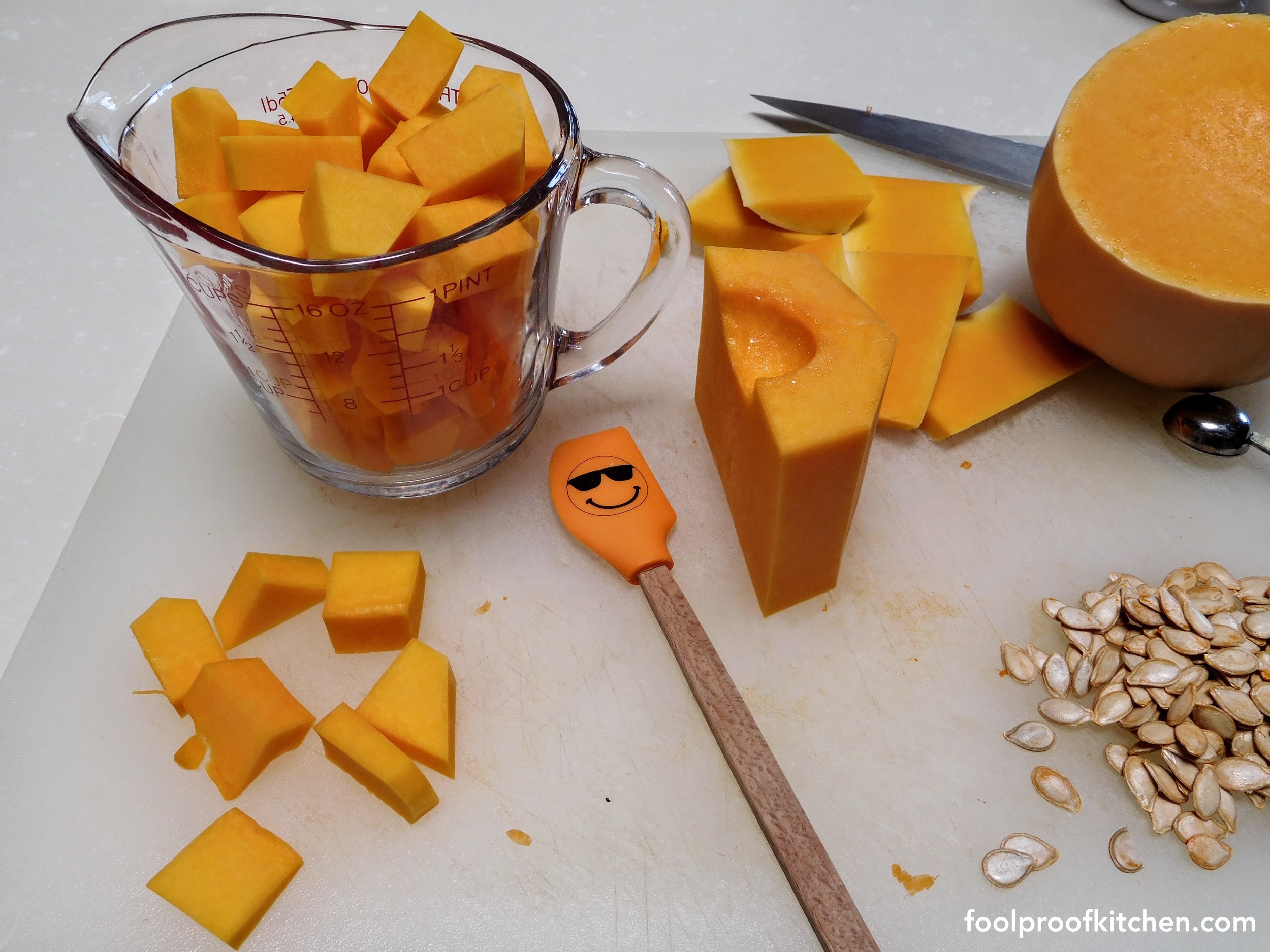 Prepping a squash - of course my spatula needs to get in on the action!
