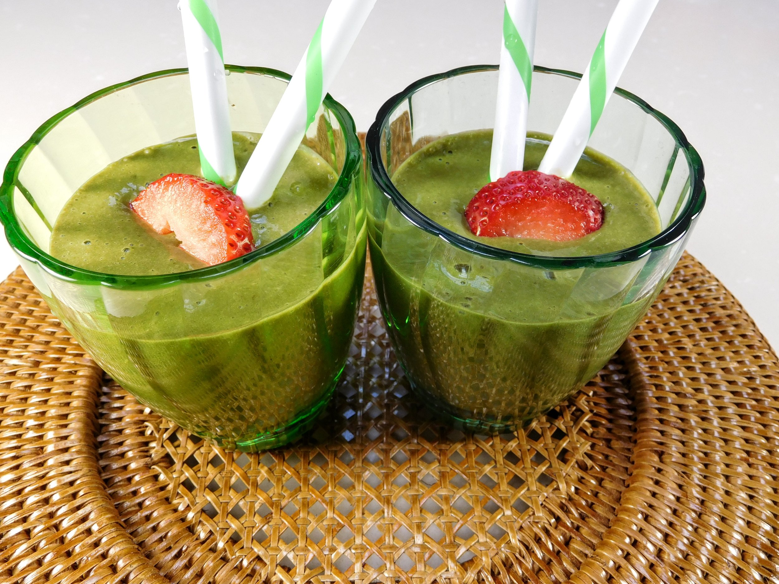 Strawberry + Banana Green Smoothie