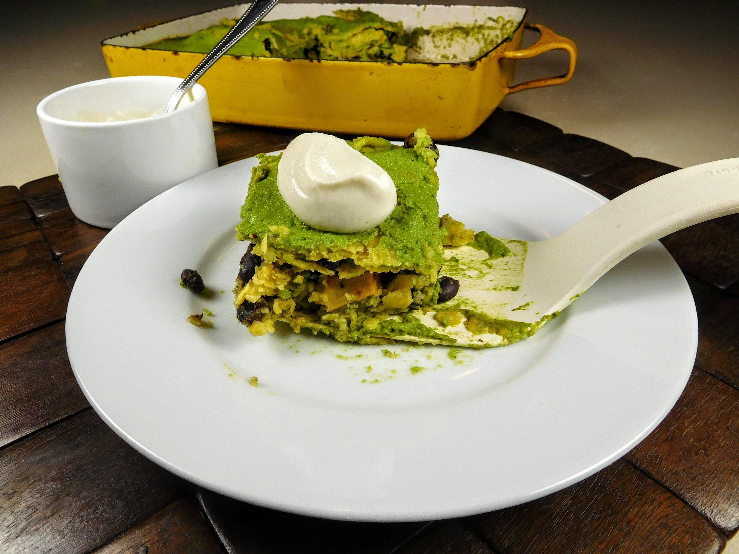 Stacked enchiladas green sauce.JPG