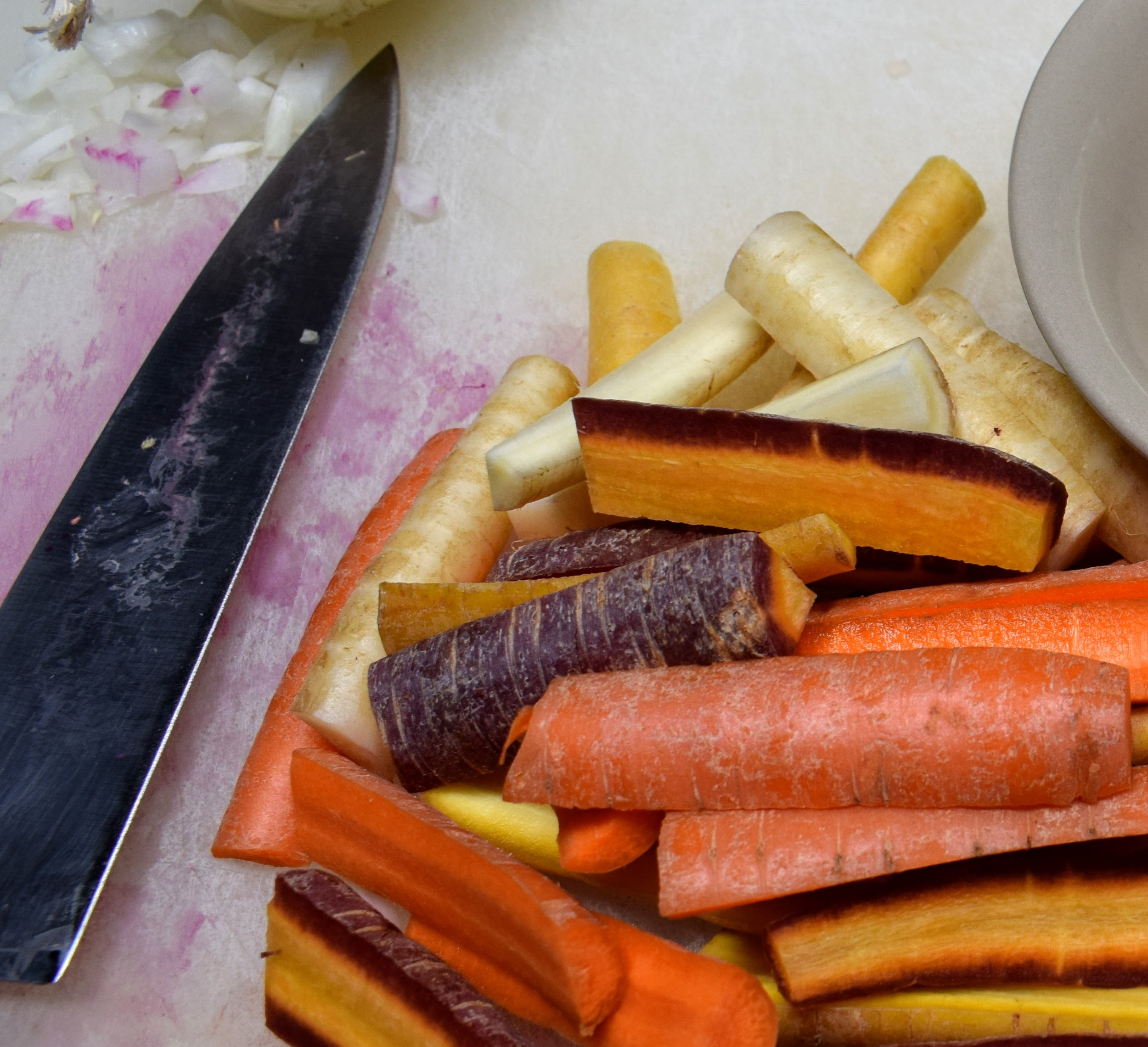 Cut rainbow carrots.JPG