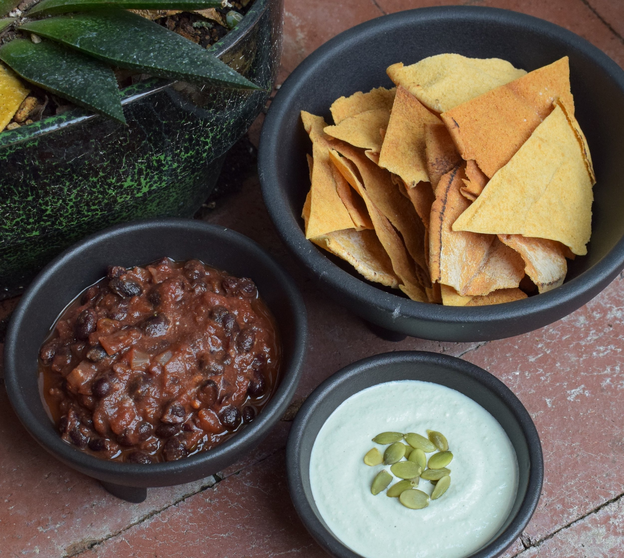 fancy black beans w green pot.JPG