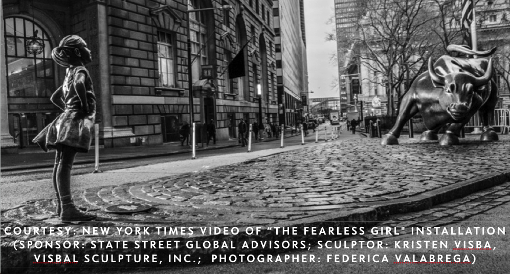"I closed my AMGA presentation with a brief  New York Times  video of the ""Fearless Girl"" installation — State Street Global Advisors' powerful initiative to promote gender diversity in America's corporate boards.  (Sculptor: Kristen Visba, Visbal Sculpture, Inc.  Photographer: Federica Valabrega)"