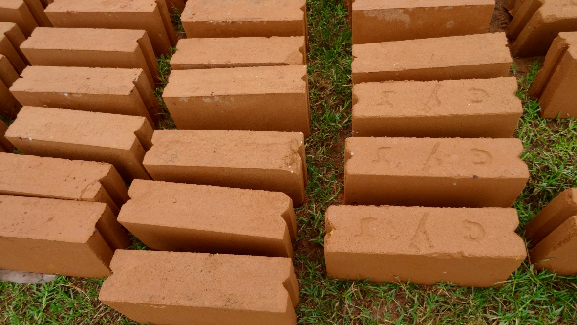 Bukoba bricks. Made from soil, compacted, then fired. You can find these across the villages in TZ but not in the same color. Bukoba has deep red soil.