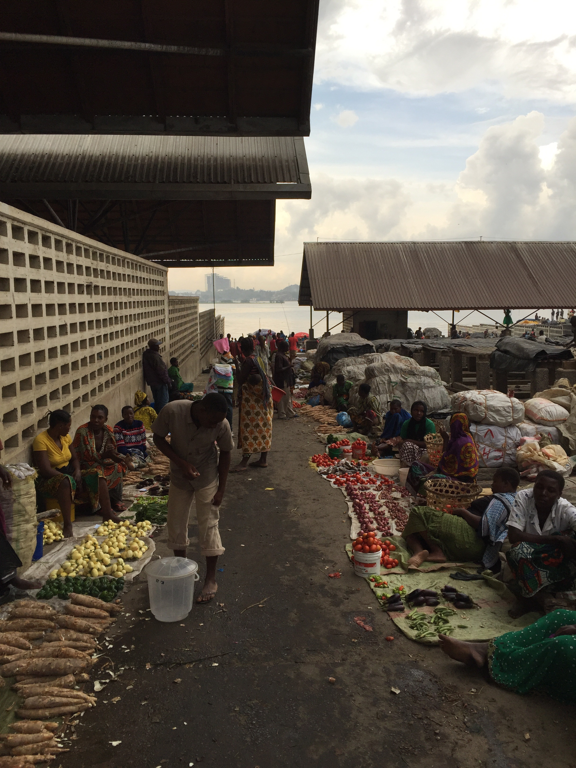 Fish market. No fish, right? The majority of the fish are small, bundled in potato sacks and sold as feed.