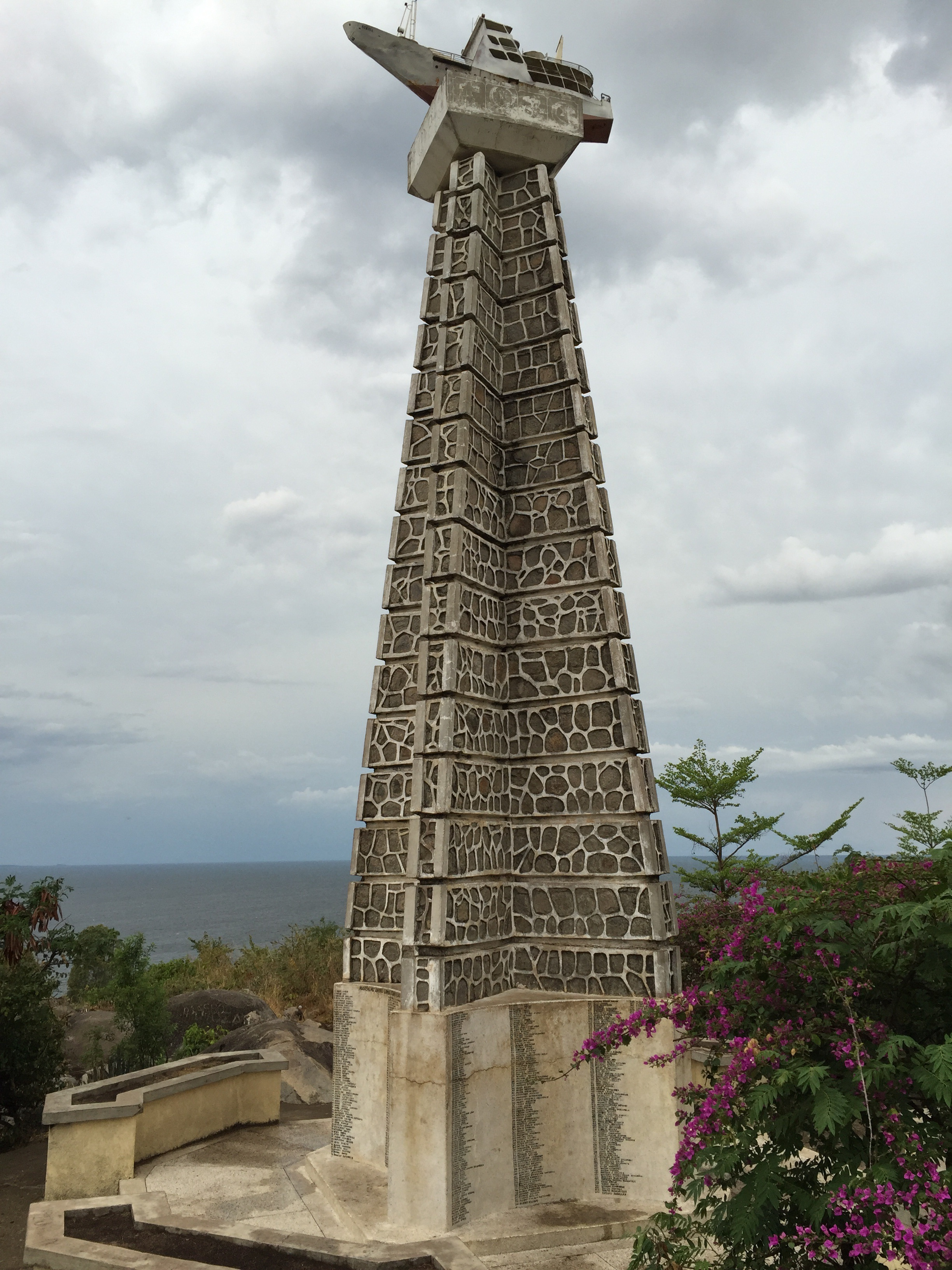 A monument to MV Bukoba. A lake Victoria ferry that carried passengers between ports of Bukoba and Mwanza. It capsized in 1996 killing over 1,000 passengers.