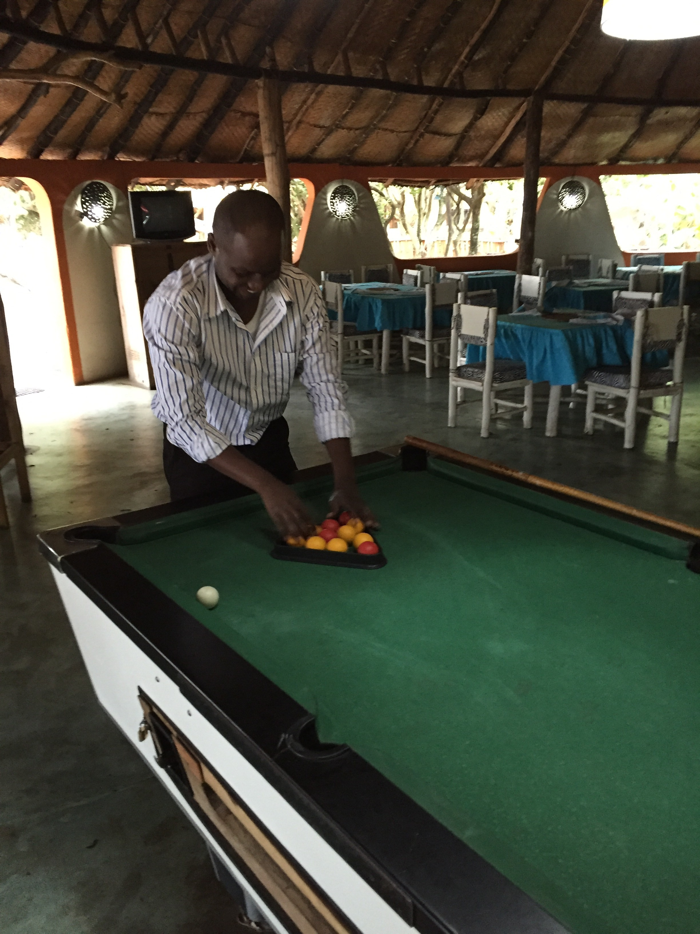 Pool. The preferred game of locals. Unfortunately for this local, home table advantage didn't work. JG 2, Edwin 1.