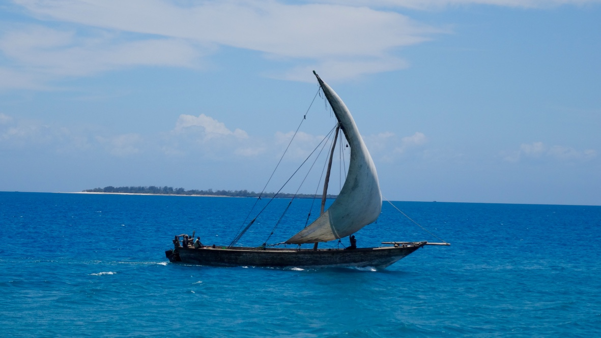 A traditional Zanzibar boat called a Dhow.