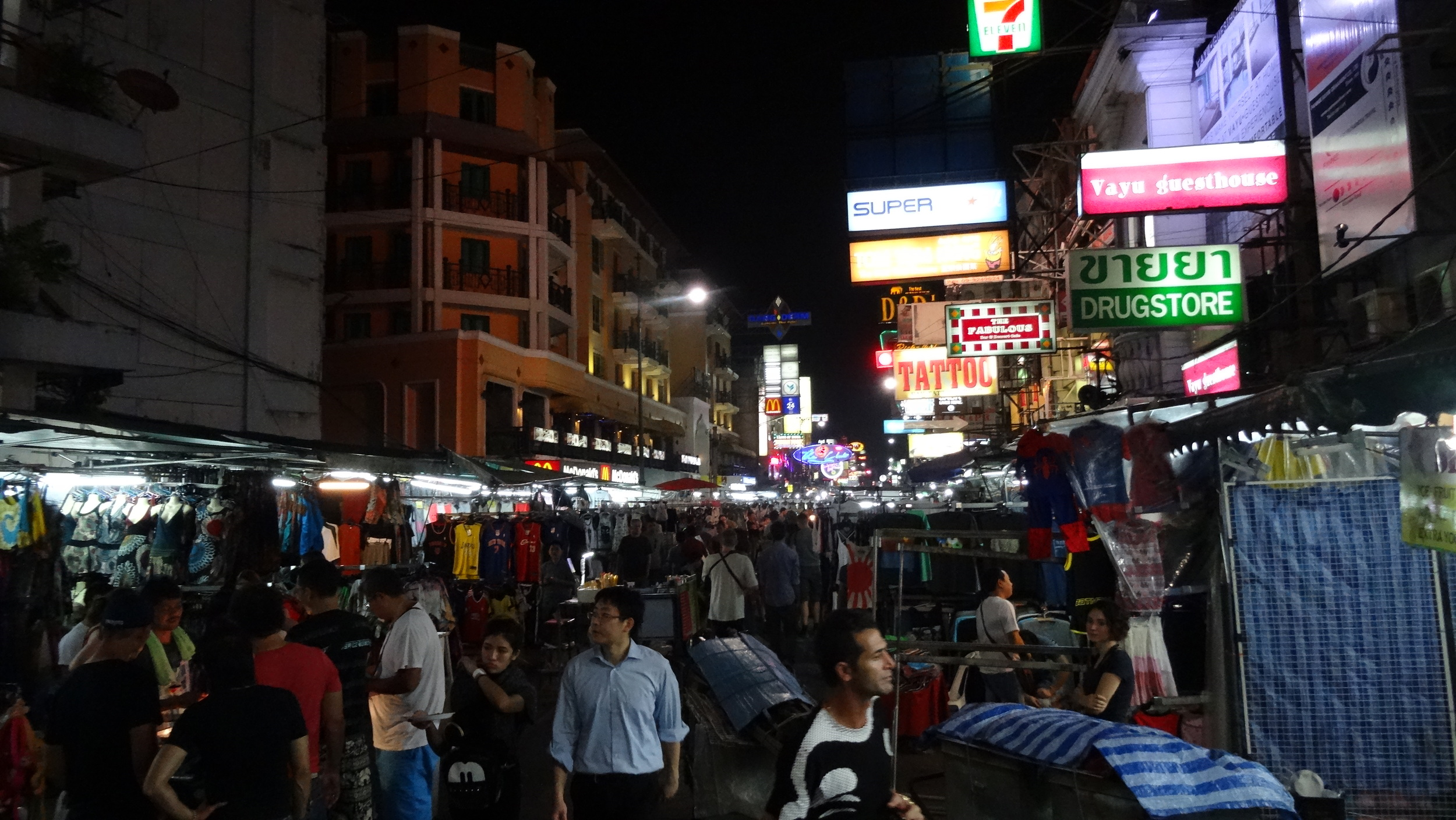 Khao San Road, a legendary backpacker rite of passage. It offers everything you want, and some things you'll regret (like the fried scorpios!), for cheap. This place goes hard every night of the week.