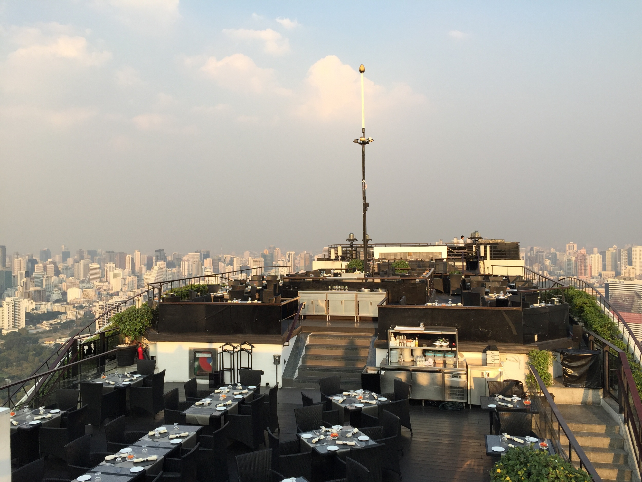 Bangkok is known for its sky bars. If you're in the city, do yourself a favor and hit one sky bar for a sunset. This view is courtesy of the Vertigo & Moon Bar in the Banyan Hotel.