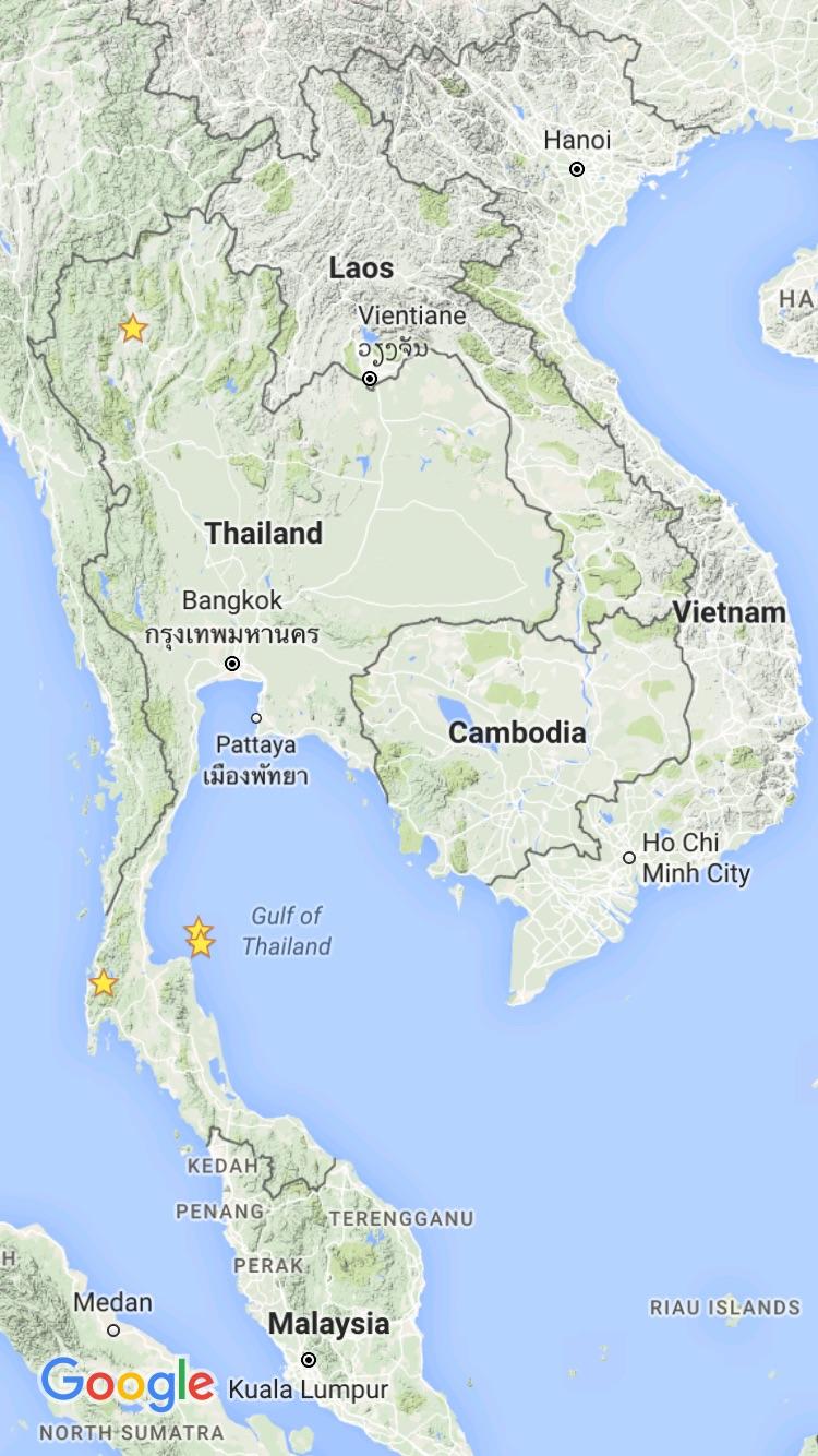Khao Sok (the far southwest), Koh Samui and Ko Pha Ngan (southeast - Gulf of Thailand), Chiang Mai (far north).