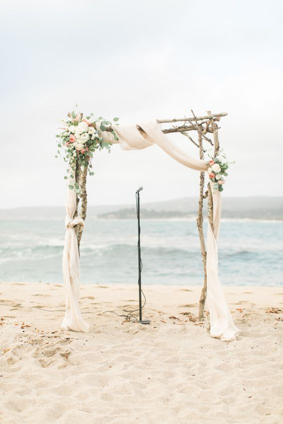 BIRCH Wedding ARCH , INCLUDES ARCH, Flowers, FABRIC SET UP & TAKE DOWN - $800
