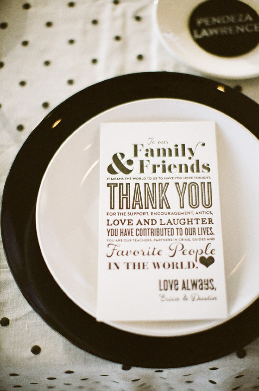 Birds of a Feather Photo    Printed Thank-You Notes to Guests  If the thought of writing a personal letter to each guest by hand seems a little daunting, then print your sentiments on a card and display them at each place setting.