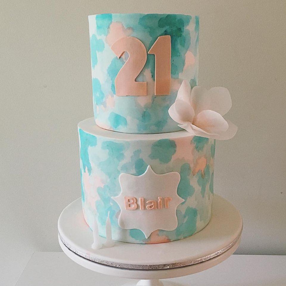 Blue & Peach Watercolour Cake