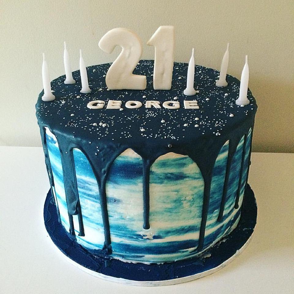 Blue Watercolour Drip Cake