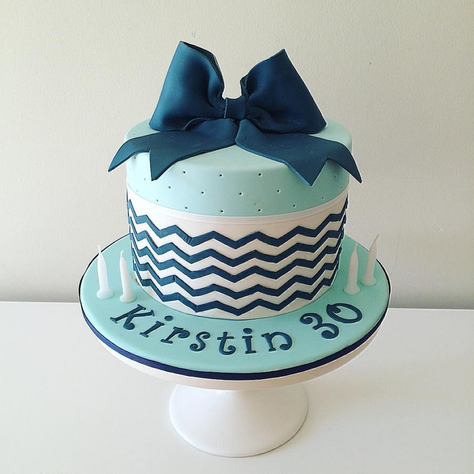 Blue 30th Birthday Cake