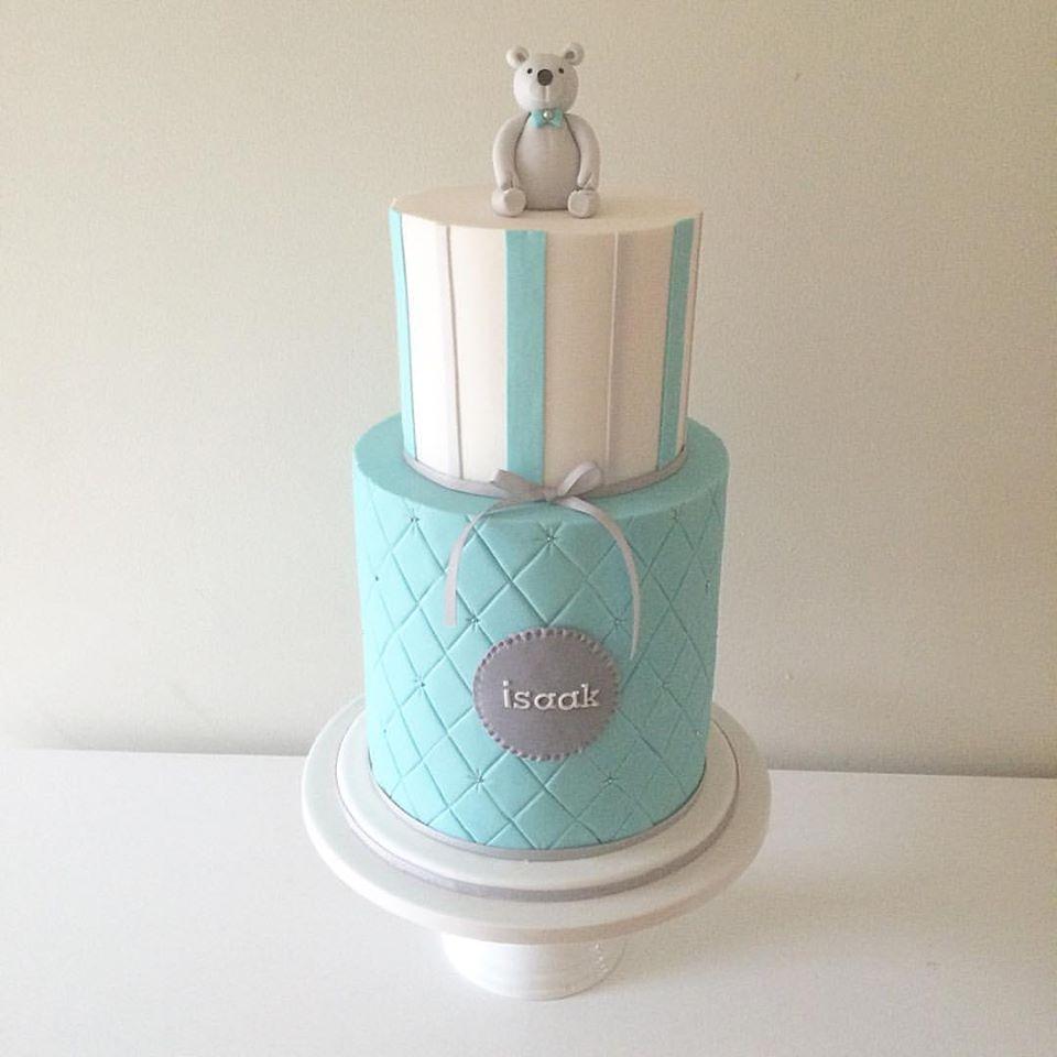 Blue Teddy Bear Birthday Cake
